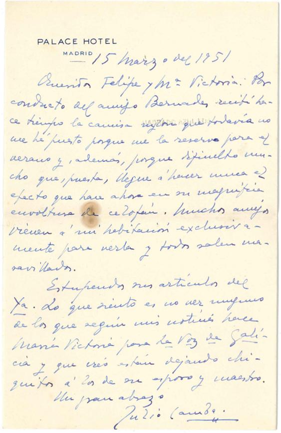 15/03/1951 - Hotel Palace - Material cedido por la Fundación Barrie.